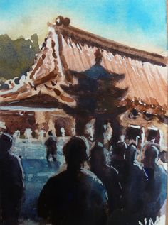 Buddhist Temple ,ACEO collectible Card Original Watercolor Painting    #Realism