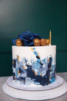 Birthday Cake Designs, Blue Birthday Cakes, Elegant Birthday Cakes, 18th Birthday Cake, Beautiful Birthday Cakes, Birthday Cake Decorating, Cake Decorating Designs, Cake Decorating Techniques, Paint Cake