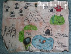 How to create a children's treasure map! Use rooms in your house and furniture as landmarks! Treasure Maps For Kids, Pirate Treasure Maps, Summer Crafts, Diy Crafts For Kids, Gifts For Kids, Explorer Map, Dora The Explorer, Draw Map, Mother's Day Gift Card