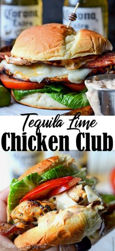 Tequila Lime Grilled Chicken Club with Chipotle Mayo – Butter Your Biscuit Tequila lime chicken sandwich is marinated in tequila and grilled to juicy perfection. Topped with a chipotle mayo and all your favorite toppings. Grilled Chicken Sandwiches, Chicken Sandwich Recipes, Healthy Sandwiches, Grilled Chicken Recipes, Burger Recipes, Dinner Sandwiches, Grilled Sandwich Ideas, Chicken Sandwhich, Mayo Sandwich