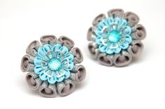 Set of 2 Kanzashi ponytail. Grey blue silver by FlosMollis on Etsy