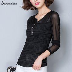 Soperwillton 2016 Women Blouses Elegant Lace Shirts V-Neck Hollow Out  Long Women Shirts Blouse Plus Size blusa feminina  #B732