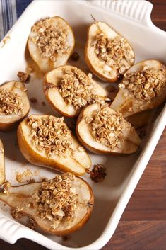 Recipes Snacks Fruit These healthy individual baked pears will satisfy all your sweet cravings. Pear Dessert Recipes, Fruit Recipes, Fall Recipes, Gourmet Recipes, Delicious Desserts, Cooking Recipes, Yummy Food, Healthy Recipes, Healthy Desserts