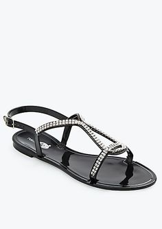 05b22c087ad83 image of Rhinestone T-Strap Jelly Sandal buy one get one free colors they  have it in- clear black red
