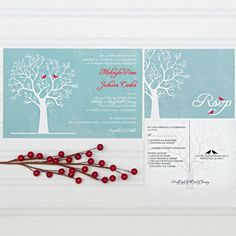Winter wedding invitations love birds in a winter tree in red and blue.   Winter is coming... #etsyhandmade #wedding #weddinginvitations #weddinginvitations #wintersedding #lovebirds #winter #wintertree #blueandred #etsy #etsyweddings #shopsmall #invitingmoments