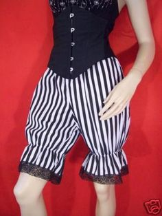 stripe bloomers made-to-order pirate circus clown burlesque black white striped