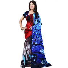 Smart Blue Color Premium Georgette Printed SarI at just Rs.499/- on www.vendorvilla.com. Cash on Delivery, Easy Returns, Lowest Price.