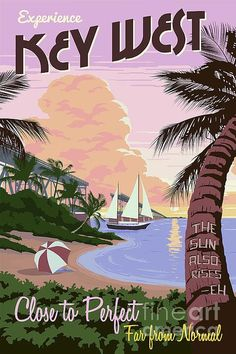 keywest florida vintage travel poster