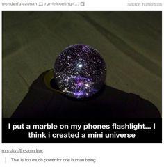 I put a marble on my phone's flashlight and I think I created a mini-universe... #marbles #iphonetricks