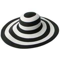 Wide Brim Summer Beach Stripe Straw Sun Hat White And Black ($19) ❤ liked on Polyvore featuring accessories, hats, striped hat, wide brim hat, sun hat, black and white striped hat and summer hats