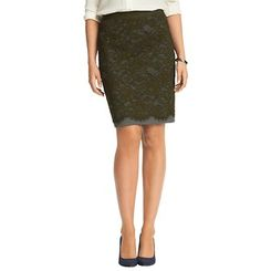 Lace Overlay Ponte Pencil Skirt
