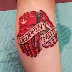 First tattoo done @meetingofthemarked. Hockey gloves. #hockey #hockeytattoo #droppingmitts #nhl #canadian #canadiantattoo #pittsburgh #pittsburghtattoo #colortattoo #traditionaltattoos #traditional #neotraditionaltattoo #sportstattoo #tattooconvention #tattoos #columbusartist #ohioartist #mapleleaf #hockeygloves #meetingofthemarked