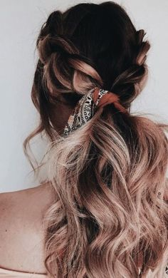 braided ombre hair and hair scarf - Hair and makeup inspiration from everyday to the runway. Makeup beauty tutorials natural hair hairstyles products makeup tips hacks eyes lips face everyday contour eyebrows vanity Braided Hairstyles Updo, Bohemian Hairstyles, Scarf Hairstyles, Pretty Hairstyles, Natural Hairstyles, Hairstyles 2018, Braided Updo, Hairstyle Ideas, Bad Hair
