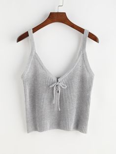 #AdoreWe #ROMWE ROMWE Tie Front Knit Cami Top - AdoreWe.com