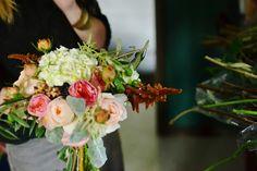 Summer/Fall Bouquet. Garden Roses, Hydrangea, fall colors, peach bouquet