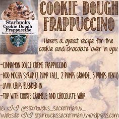 I love Starbucks! Starbucks Frappuccino, Starbucks Cookies, Frappe Recipe, Starbucks Hacks, Starbucks Coffee, Frappuccino Flavors, Starbucks Secret Menu Items, Starbucks Secret Menu Drinks, Mexican Food Recipes