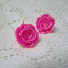 Honeysuckle Pink Rose Earrings  Silver  lever by SouthernBelleOOAK, $12.00