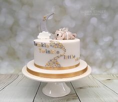 Twinkle, Twinkle Little Star.... Baby Shower Cake with moon, stars and a baby bear with fairy wings