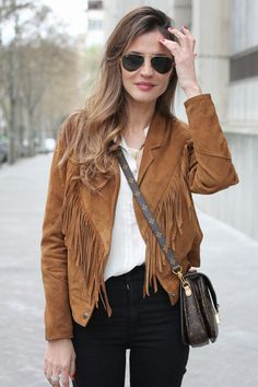 Vintage fringe jacket I like that this one lands below the hip  Love a good fringed jacket but many are too short