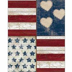 Four Panel Stars Stripes Hearts Americana Folk Primitive Wood Grain Painting Red