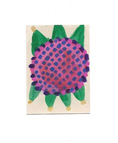ACEO Original Acrylic Watercolor Gouache Painting Pink Blue Sunflower Signed | eBay