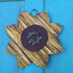 15 inch Rustic tin sunflowers rusty tin by Rustaroundtheedges