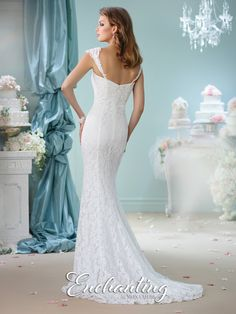 Enchanting by Mon Cheri - 116140 - Sleeveless lace trumpet gown with tapered shoulder straps, deep plunging sweetheart neckline with illusion modesty panel, chapel length train.Sizes: 0 – 20Colors: Ivory, White