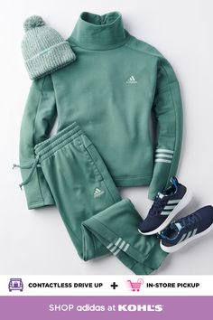Gear up for cooler temperatures with new fleece workout clothes from adidas. You will love the cozy funnel sweatshirt with matching cozy jog pants, which offer both functionality and fashion. Add a pair of adidas Cloudfoam Puremotion running shoes, and you're ready to get out there. Shop adidas gym outfits and more at Kohl's and Kohls.com. Plus, get your purchase even quicker with fast + free store pickup! #adidas #activewear Winter Outfits, Casual Outfits, Fashion Outfits, Gym Outfits, Girly Outfits, Womens Fashion, Fashion Trends, Adidas Outfit, Look Cool