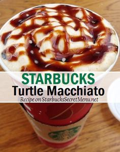 turtle macchiato Mocha syrup pumps tall, 3 grande, 4 venti) Caramel syrup pumps tall, 3 grande, 4 venti) Add choice of milk Add espresso shots Criss-cross over the foam or whip with mocha and caramel syrup Starbucks Latte, Starbucks Secret Menu Drinks, Starbucks Recipes, Coffee Recipes, Starbucks Flavors, Starbucks Holiday Drinks, Starbucks Hacks, Fondue Recipes, Copycat Recipes