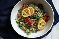 warm bulgur wheat salad with broccoli rabe + roasted lemons + za'atar tomatoes — The Crunchy Radish