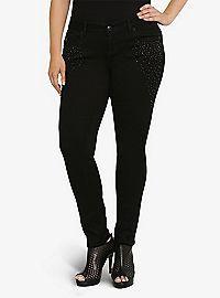 TORRID.COM - Torrid Premium Skinny Jeans - Black with Jewel-Studded Sides
