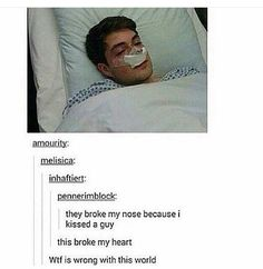 "This isn't ""beautiful"" this is disgusting! Disgusting that the broke his nose for doing nothing! He was just being himself!!!"