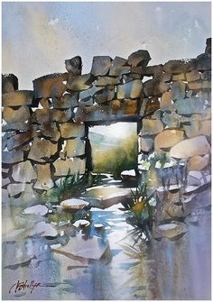 The Wall of Mourne -Northern Ireland by Thomas W. Schaller Watercolor ~ 22 inches x 15 inches Watercolor Painting Techniques, Watercolor Projects, Watercolor Landscape Paintings, Watercolor Sketch, Watercolor Artists, Landscape Art, Papier Paint, Art Thomas, Watercolor Architecture