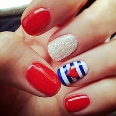 2. Red, White & Blue - 24 Fancy Nail Art Designs That You'll Love Looking at All Day Long ... → Beauty