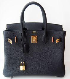 Hermes Birkin 30 Cm Black Togo Leather Bag Ghw Gold   MALLERIES