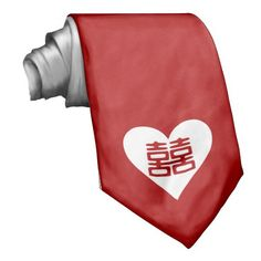 Double Happiness • Heart Neck Ties // a little something for the #groom or #groomsmen at a #chinese #wedding
