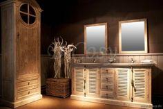 Lee&Lewis Bath Kast Oud Dennehout Olive Met Natuurstenen And 2 Wastafels 180 Landelijke badkamer-Landelijk badkamermeubel