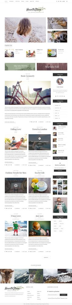 HearthStone - Responsive WordPress Blog Theme. HearthStone is ideal for web blogs from which the inspiration came from, with content related to photography, travel, graphic design, fashion, art, architecture, interior design and other creative fields.