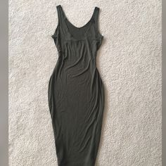 Open Back Midi Dress!!! New without tag olive dress! Beautiful and so trendy!! Material is very soft and very stretchy95% rayon 5% spandex! Size M but run like L size for sure! You will love it! NOT ZARA BRAND Zara Dresses Midi