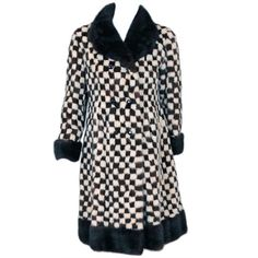 1950's Schiaparelli Checkered Mink Fur Double-Breasted Coat ❤ liked on Polyvore featuring outerwear, coats, double breasted coat, checkered coat, mink coat, checked coat and mink fur coat