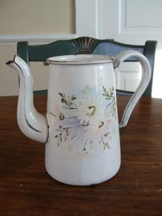 Exceptional French Antique Coffee Pot Signed by QuelJoliReve, $115.00