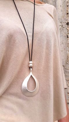 Drop silver pendant, Long necklace, Statement necklace, Large necklace, Silver…