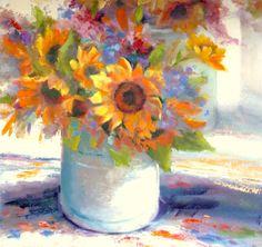 Still Life Sunflowers Flowers Unframed  18 x 18 by TinaWasselKeck