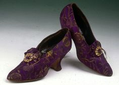 ~Women's Brocade Court Shoe, 1890s~ Pair of purple and gold brocade court shoes.