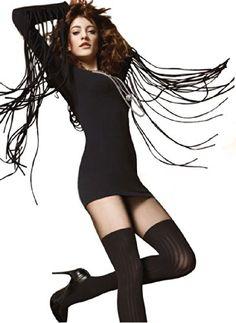 Gatta Tancia 06 - Top-modisch gemusterte Strumpfhose mit trendigem Overknee-Look