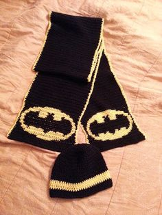 Crochet from J: Batman Scarf and Beanie Pattern http://javocado.blogspot.com/2013/10/batman-scarf-and-beanie-pattern.html