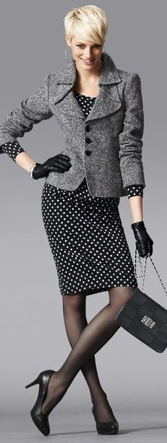 Polka dots & jacket. Always a good look