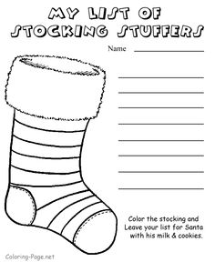 Christmas coloring page - Stocking Stuffer List, Stocking Pictures to Color, Christmas Coloring Page, FREE Coloring Page Template Printing Printable Christmas Coloring Pages for Kids, Stocking Christmas Gift Coloring Pages, Coloring Pages Winter, Preschool Coloring Pages, Cool Coloring Pages, Printable Coloring Pages, Christmas List Template, Christmas Gift List, Christmas Colors, Christmas Crafts