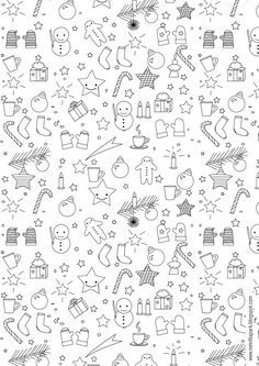 christmas doodles Free printable Christmas coloring page - ausdruckbares Malblatt - freebie Christmas Doodles, Noel Christmas, Christmas Colors, Xmas, Doodle Drawings, Easy Drawings, Doodle Art, Printable Christmas Coloring Pages, Free Christmas Printables