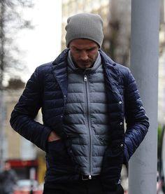 David Beckham wearing a Moncler Nylon Down-quilted jacket.